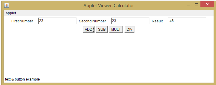 Simple Calculator in Java Applet