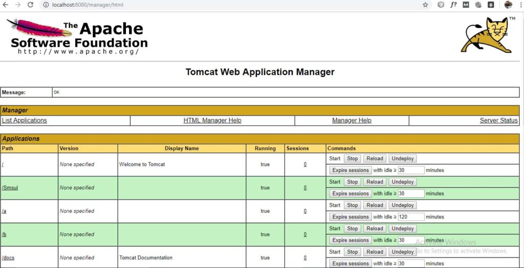 Tomcat Application Manager