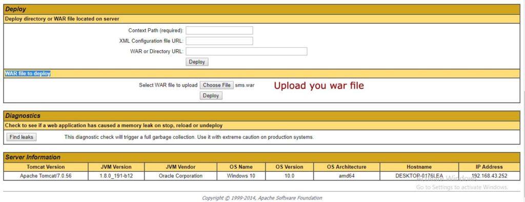 Upload war file in Tomcat