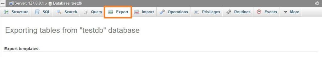 phpMyAdmin Selecting Export tab