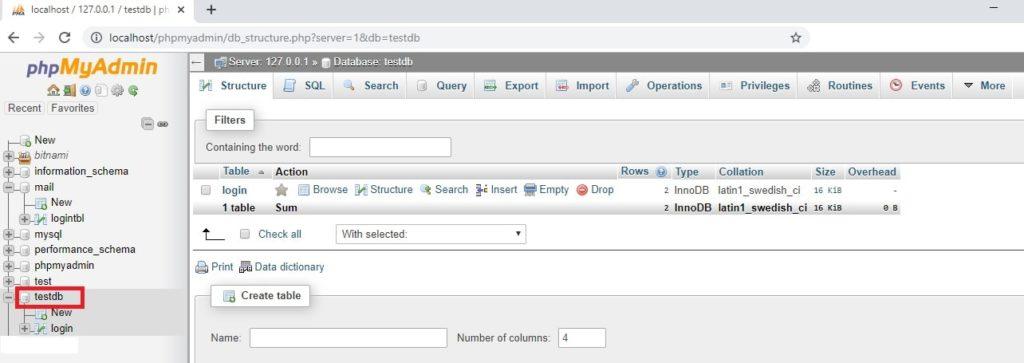 phpMyAdmin Selecting database