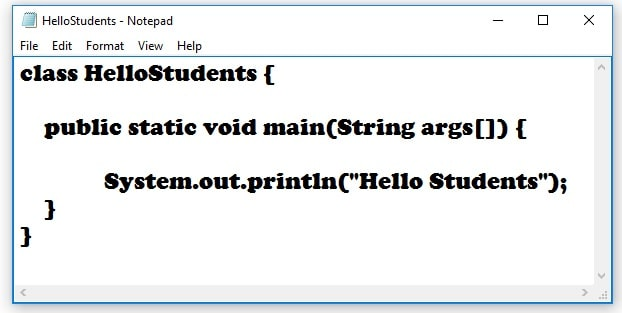 How to save java first program in notepad