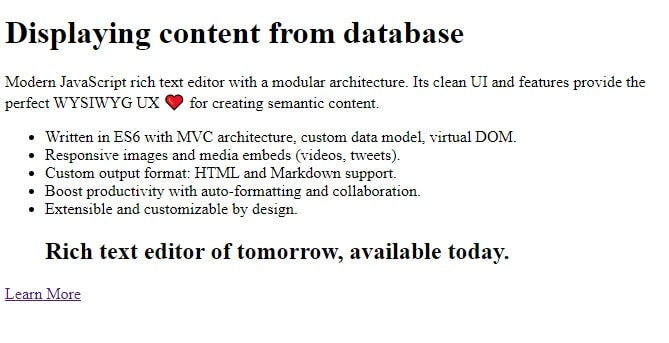 Display CKEditor content from database