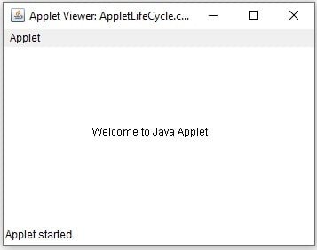 Applet Life Cycle in Java Example
