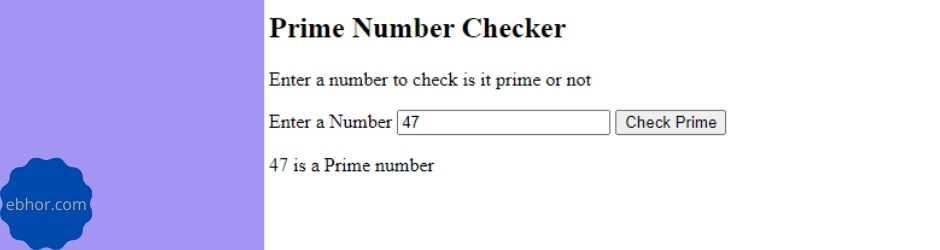 Prime number program in JavaScript