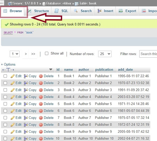 Browse the PhpMyAdmin database