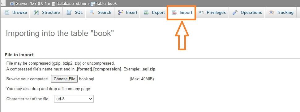How to import data in MySQL database
