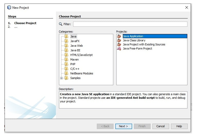 Fig: New Project Start in NetBeans