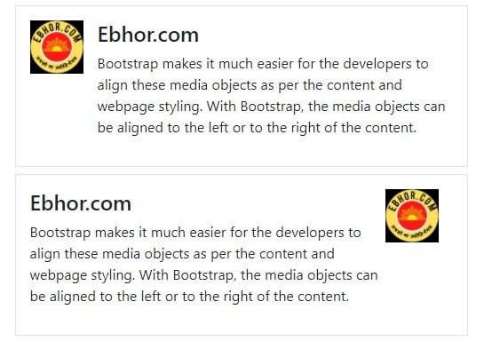 Bootstrap Media Left and Right Alignment