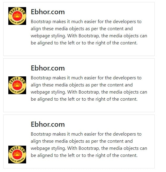 Media bootstrap top, middle or bottom alignment