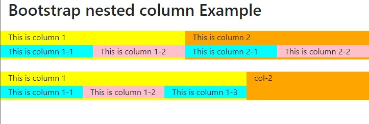 Bootstrap nested columns example